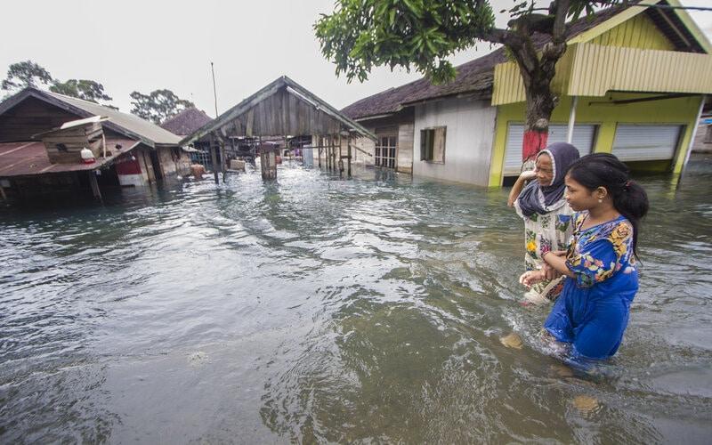 Warga melintasi banjir yang melanda Desa Banua Raya di Kabupaten Tanah Laut, Kalimantan Selatan, Senin (11/1/2021). Berdasarkan data yang telah di himpun aparat desa Banua Raya, sebanyak 2.907 Jiwa terdampak banjir akibat luapan sungai Bati Bati. - Antara/Bayu Pratama S.