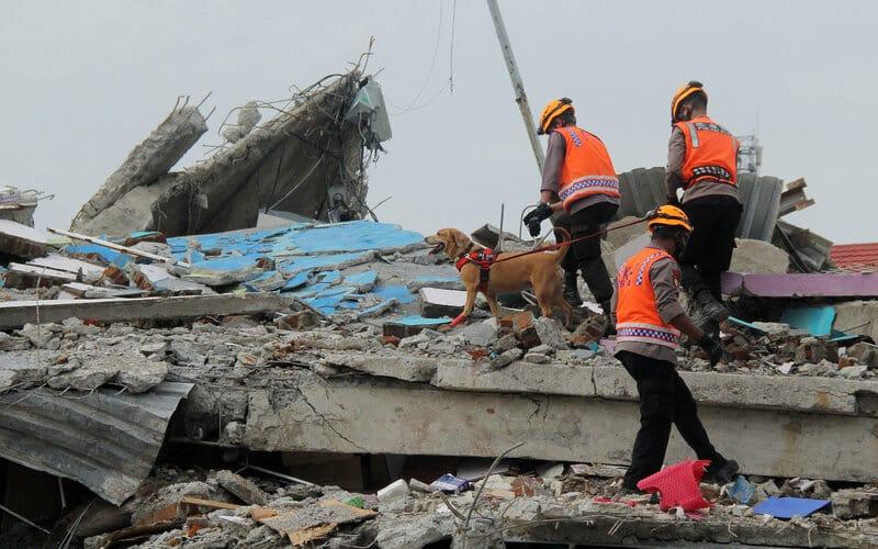 Anggota polisi dengan bantuan Unit Satwa K9 Mades Polri di Rumah Sakit Mitra Manakarra yang runtuh akibat gempa bumi di Mamuju, Sulawesi Barat, Minggu (17/1/2021). - Antara/Akbar Tado.