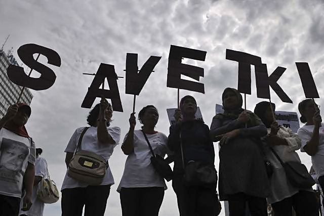 Aksi peduli tenaga kerja INdonesia. - JIBI