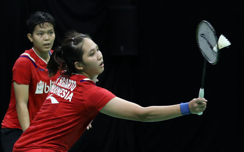 Ganda putri Ribka Sugiarto (kanan) dan Siti Fadia Silva Ramadhanti - Badminton Indonesia