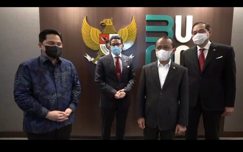 Mantan Ketua dan Kader Hipmi berkumpul kembali di Kabinet Jokowi: Erick Thohir, Sandiaga Uno, Bahlil Lahadalia, dan M. Lutfi  -  Sumber: Istimewa