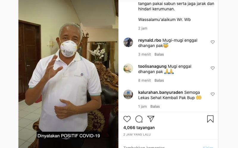 Bupati Sleman Sri Purnomo mengumumkan bahwa dirinya positif terpapar virus Corona atau Covid-19. Dia mengumumkan hal itu melalui akun instagram resminya, sripurnomosp, Kamis (21/1/2021) - tangkapan layar Instagram/@sripurnomosp