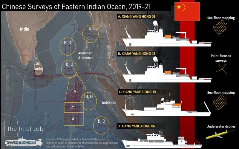 Lokasi survei yang dilakukan kapal di China di Samudra Hindia yang tertangkap satelit. - Istimewa/www.defenceaviationpost.com