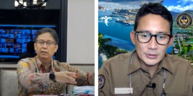 Menteri Kesehatan Budi Gunadi Sadikin dan Manteri Pariwisata Sandiaga Uno melakukan diskusi virtual. - istimewa
