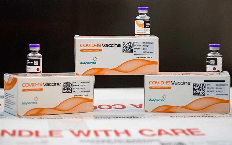 Kemasan vaksin Covid-19 diperlihatkan di Command Center serta Sistem Manajemen Distribusi Vaksin (SMDV), Bio Farma, Bandung, Jawa Barat, Kamis (7/1/2021). ANTARA FOTO - M Agung Rajasa