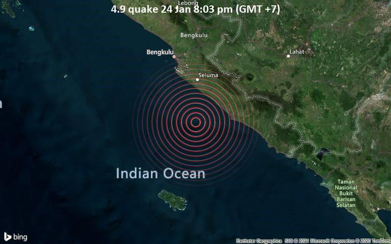Pusat gempa yang terjadi di Bengkulu. - Istimewa/www.volcanodiscovery.com