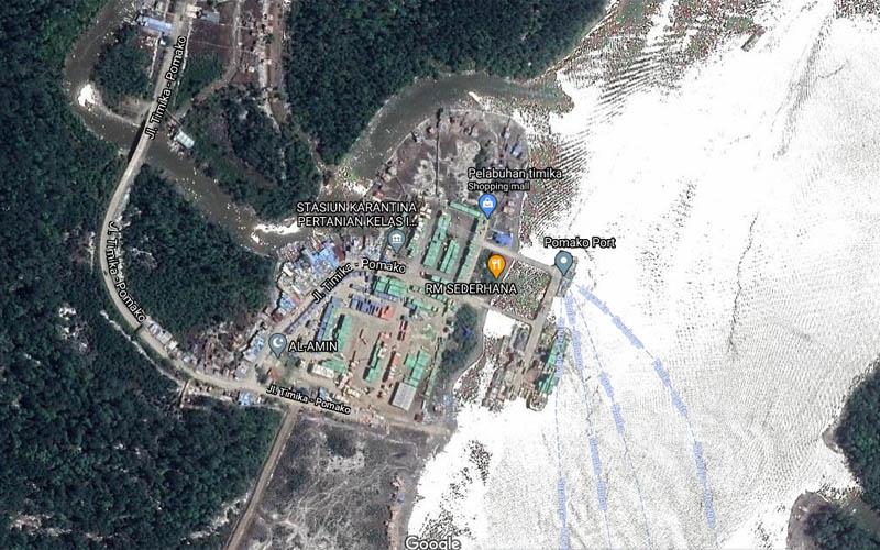 Foto satelit Pelabuhan Pomako Timika, Papua. Foto: Google Maps