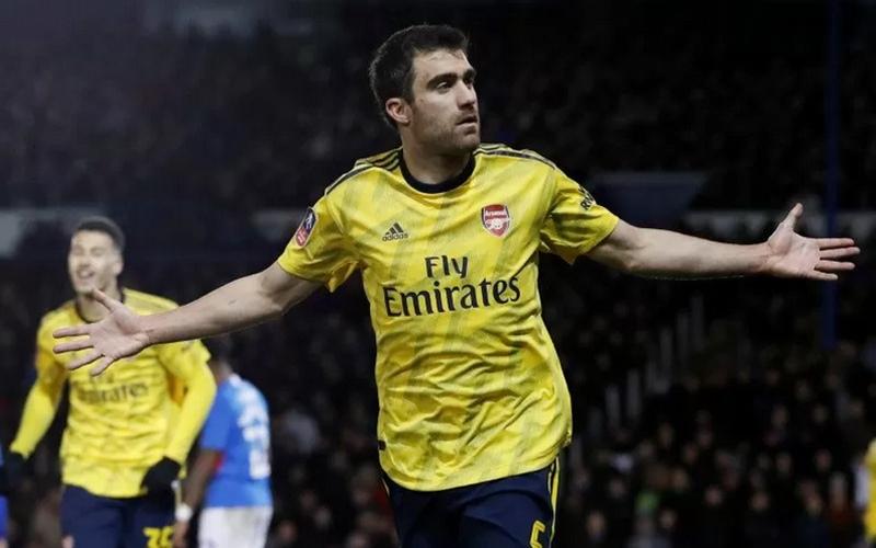 Bek tengah Sokratis Papastathopoulos saat berseragam Arsenal.  - Antara