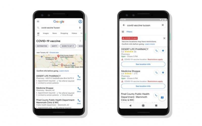 Google Search dan Maps akan segera menampilkan tempat vaksinasi dengan detail penting. - Istimewa/blog.google