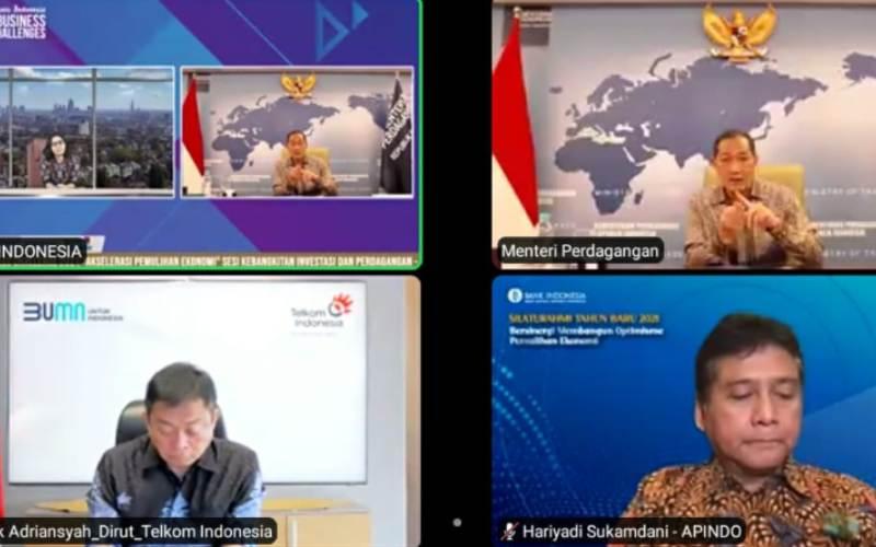 Webinar Bisnis Indonesia Business Challenges 2021 bertajuk Akselerasi Pemulihan Ekonomi. - tangkapan layar