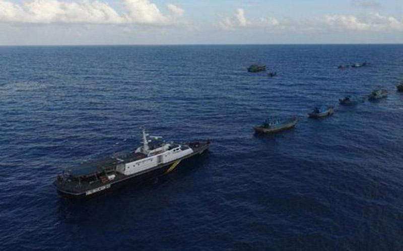 Sejumlah kapal asing yang tertangkap pihak berwenang siap untuk ditenggelamkan di perairan Natuna, Kepulauan Riau. - Antara