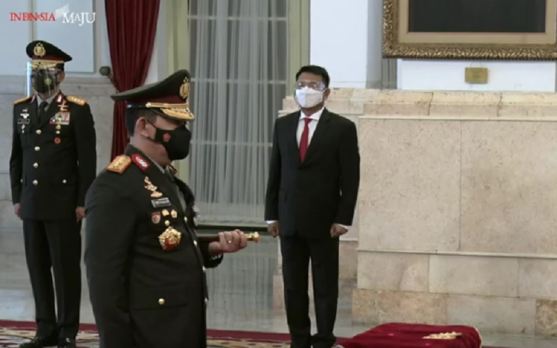 Pelantikan Jenderl Pol Listyo Sigit Prabowo sebagai Kapolri di Istana Negara, Rabu (27/1/2021). JIBI - Bisnis/Nancy Junita