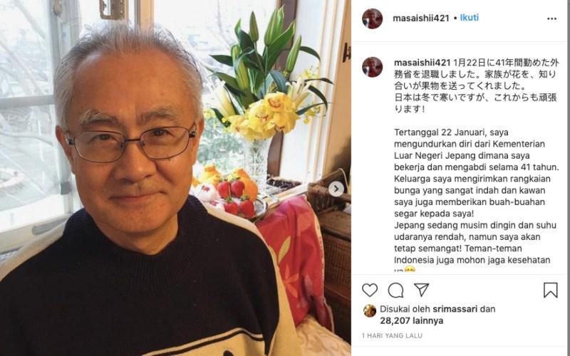 Ishii Masafumi, eks Duta Besar Jepang untuk Indonesia,menginformasikan pengunduran dirinya dari Kemenlu Jepang,Rabu (27/1/2021) - Instagram/@masaishii421