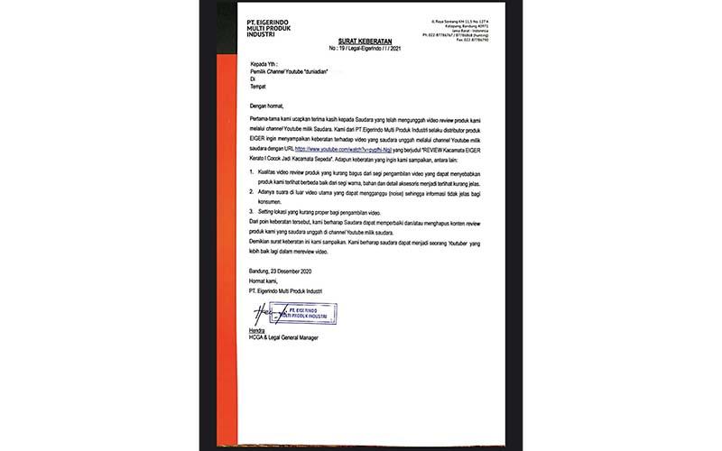 Surat Keberatan Eiger kepada Dian Widiyanarko atas video ulasan yang ditayangkan di Youtube.  - Twitter @duniadian