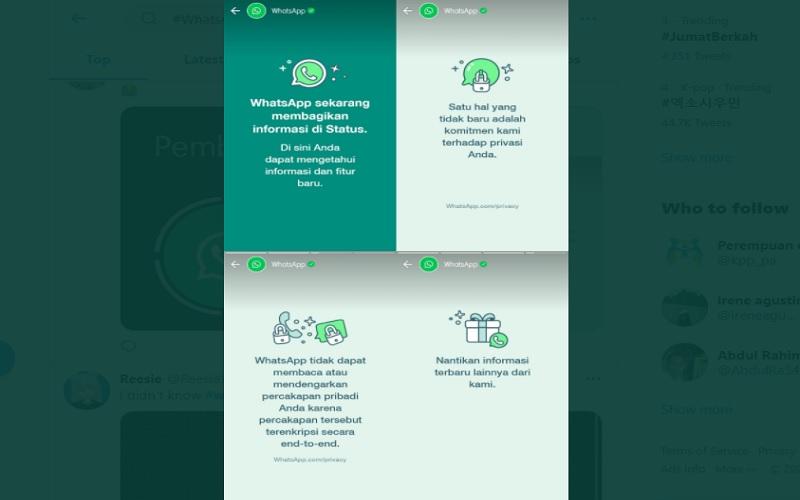 Akun resmi WhatsApp mengunggah status terbaru di aplikasi milik pengguna. Pengaturan privasi data WhatsApp menjadi sorotan warganet.  -  Foto: Tangkapan layar status WhatsApp terbaru.