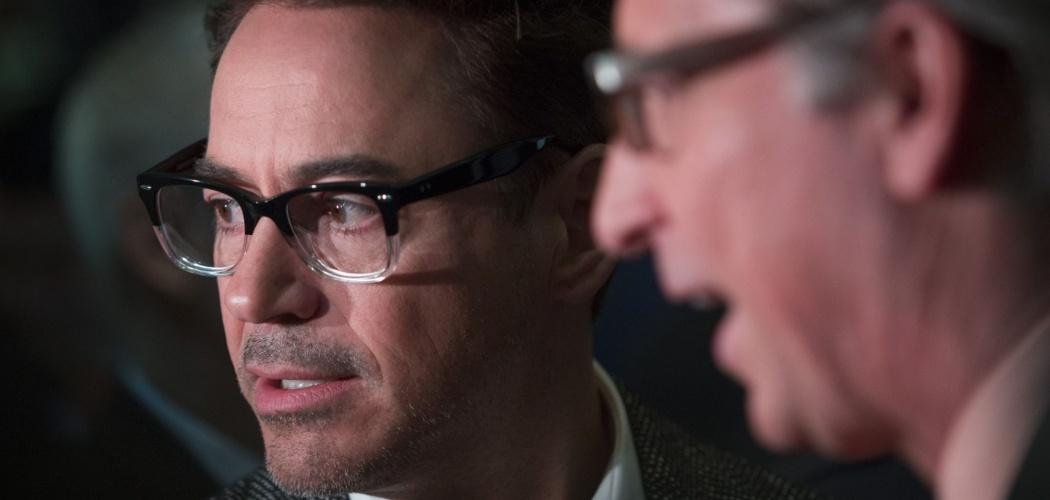 Robert Downey Jr. ketika mengunjungi New York Stock Exchange (NYSE) di New York, AS, Selasa (30/4/2013). - Bloomberg/Scott Eells