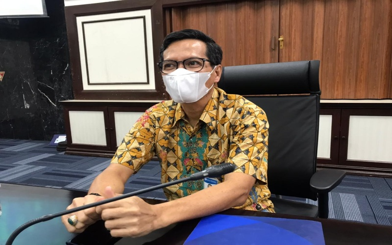 Kepala Perwakilan Bank Indonesia Provinsi Sumatra Utara Soekowardojo saat memaparkan laju perekonomian Sumut di kuartal IV 2020 di Kantor Perwakilan Bank Indonesia Provinsi Sumatra Utara, Jumat (29/1 - 2021).Bisnis/Cristine Evifania Manik
