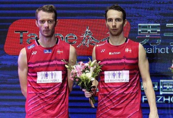 Carsten Mogensen dan Mathias Boe (kanan) - Badminton Indonesia