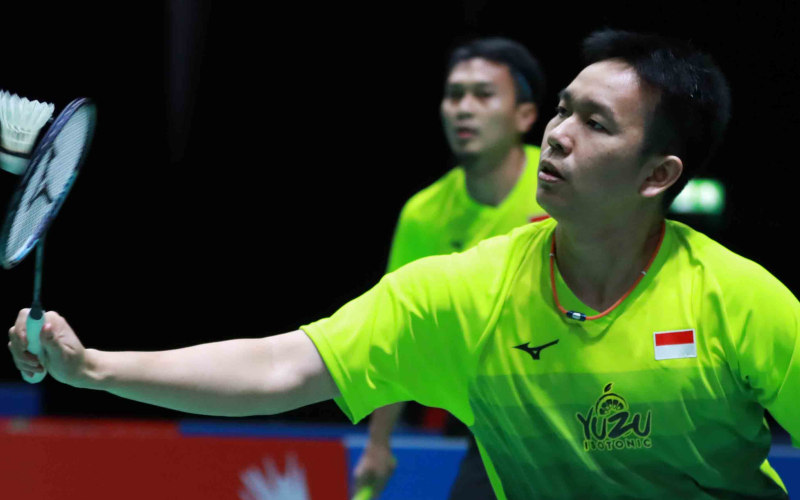 Psangan ganda putra Hendra Setiawan (kanan) dan Mohammad Ahsan. - Badminton Indonesia