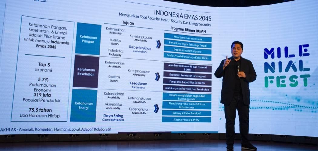 Menteri BUMN Erick Thohir menjadi pembicara dalam Milenial Fest 2020 di Djakarta Theatre, Jakarta, Sabtu (15/8/2020). - ANTARA FOTO/Dhemas Reviyanto