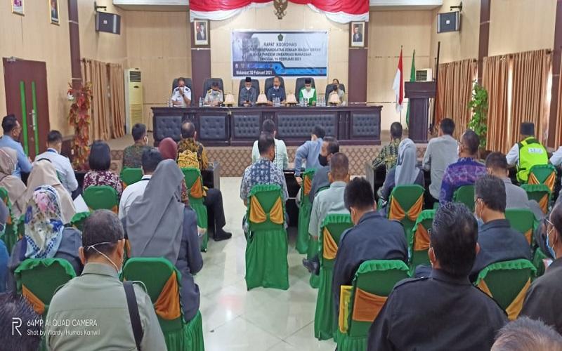 Rapat Koordinasi Pemberangkatan Jemaah Umrah di Masa Pandemi yang dilaksanakan di Kantor Kanwil Sulsel, Selasa (2/2/2021) - Wahyu Susanto