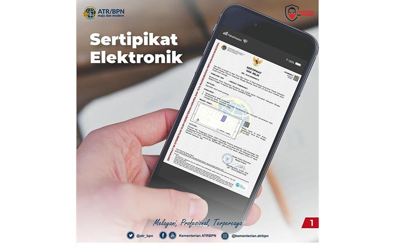 Ilustrasi sertifikat tanah elektonik / Instagram kementerian.atrbpn