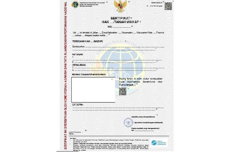 Contoh sertifikat tanah elektronik yang akan dirilis pemerintah. / Sumber: Peraturan Menteri ATR - BPN Nomor 1 / 2021 tentang Sertifikat Elektronik