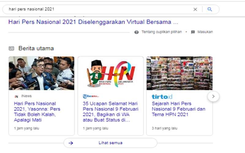 Ilustrasi/Kumpulan berita Hari Pers Nasional yang terindeks di mesin pencarian Google