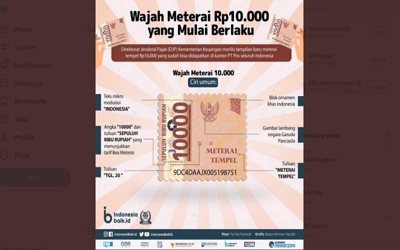 Direktorat Jenderal Pajak (DJP) memperkenalkan meterai tempel baru senilai Rp10.000, pengganti meterai lama dengan nominal Rp3.000 dan Rp6.000  -  Foto: Twitter @IndonesiaBaikID