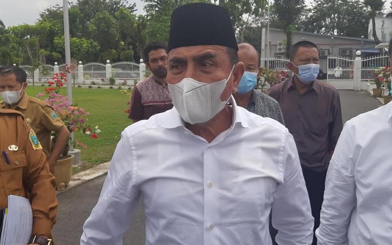 Gubernur Sumatra Utara Edy Rahmayadi saat diwawancarai di Rumah Dinas Gubernur Sumatra Utara, Senin (8/2/2021).  - Bisnis/Cristine Evifania Manik