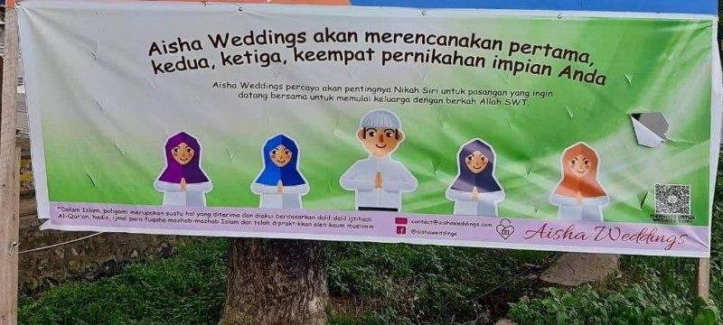 Spanduk Aisha Wedding yang menyediakan jasa pernikahan poligami, nikah sirri dan pernikahan anak mulai usia 12 tahun. - Twitter