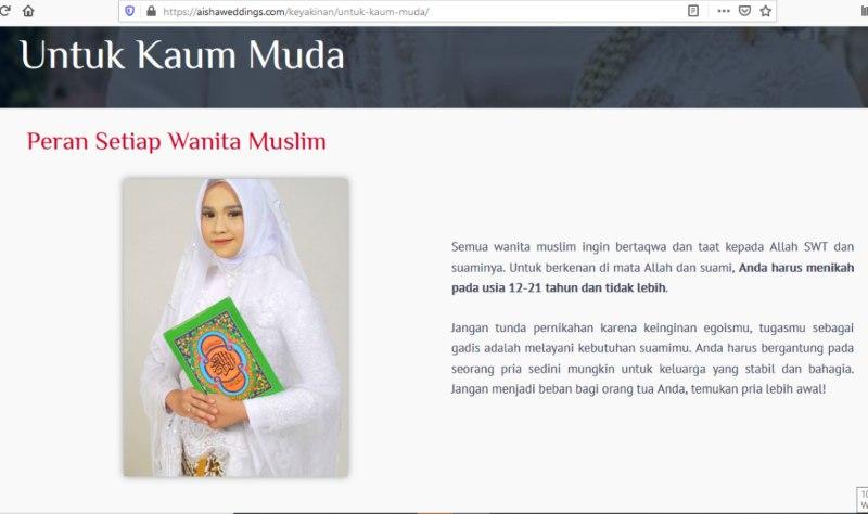 Tangkapan layar situr Aisha Wedding yang mengajak orang tua menikahkan anaknya usia 12/21 tahun