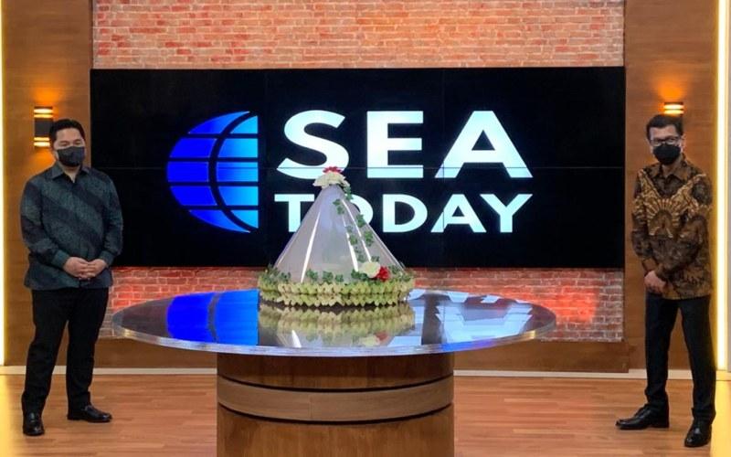 Menteri BUMN Erick Thohir (Kiri) dan Wishnutama Kusubandio (Kanan) dalam acara peresmian dan penayangan perdana kanal berita SEA Today. - Istimewa