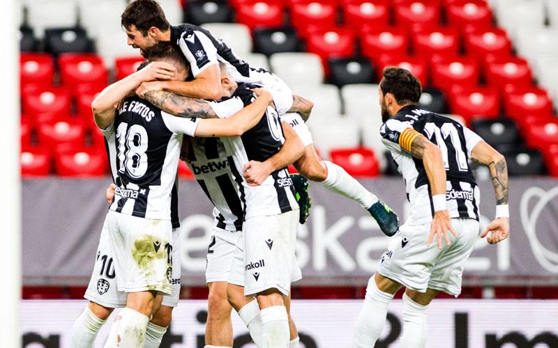 Para pemain Levante merayakan gol ke gawang Athletic Bilbao. - Twitter@LevanteUD