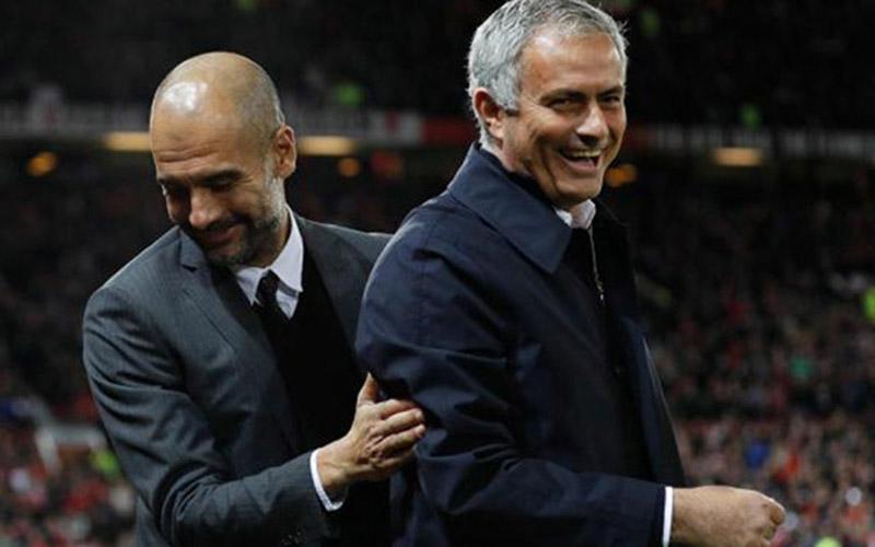 Pelatih Manchester City Pep Guardiola (kiri) dan pelatih Tottenham Hotspur Jose Mourinho. - Reuters