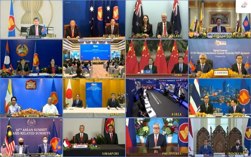 Penandatanganan RCEP oleh 15 negara, Minggu (15/11/2020). - dok. kemendag