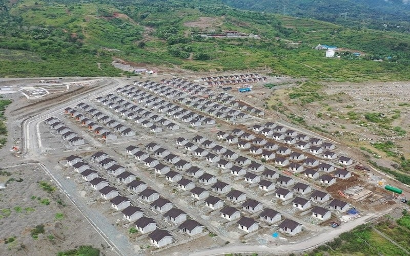 Pemandangan dari atas Huntap di Palu, Sulawesi Tengah. ANTARA/HO-Bag Hukum dan Komunikasi Publik Ditjen Perumahan Kementerian PUPR - Antara
