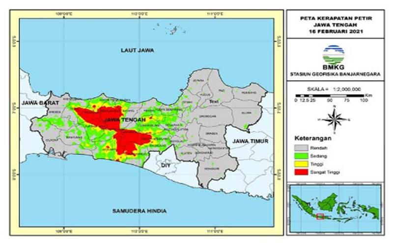Peta kerapatan petir di wilayah Jawa Tengah per tanggal 16 Februari 2021./Antara - HO/BMKG
