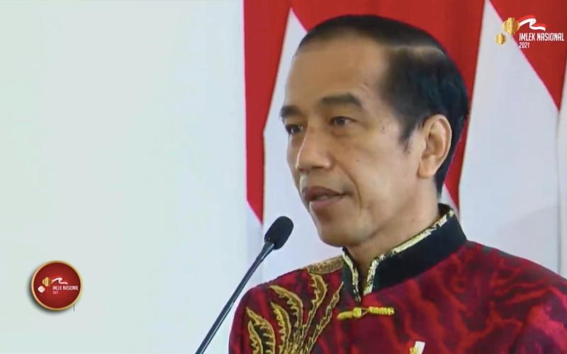 Presiden Joko Widodo memberikan sambutan dalam perayaan Imlek Nasional 2021 bertema Untukmu Negeri, Kami Berbakti dan Peduli, Sabtu (20/2/2021) - Youtube/Imlek Nasional