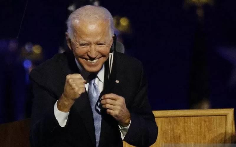 Presiden AS terpilih Joe Biden merayaan kemenangannya dalam Pilpres AS di Wilmington, Delaware, AS, Sabtu (7/11/2020). - Antara/Reuters\r\n