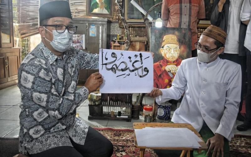 Gubernur Jawa Barat Ridwan Kamil mengunjungi Workshop Gallery Seni Hibbat: Seni Kaligrafi dan Lukis Community di Pondok Pesantren Hibbatussa'diyyah