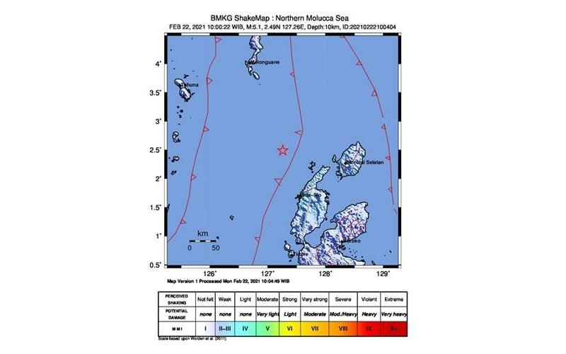 Peta gempa di wilayah Tobelo, Maluku Utara - BMKG