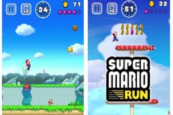 Tampilan game Super Mario Run untuk iPhone - Antara