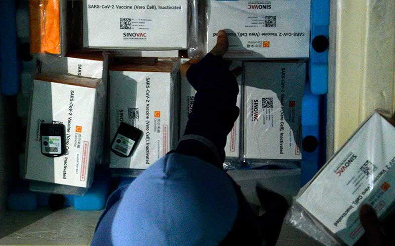 Ilustrasi - Petugas bersiap memasukkan vaksin Covid-19 Sinovac ke lemari pendingin setibanya di kantor Dinas Keseshatan Kabupaten Gowa, Sulawesi Selatan, Selasa (12/1/2021). - Antara/Abriawan Abhe