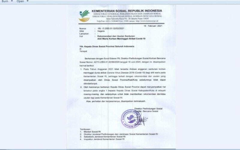 Surat pengumuman dari Kemensos Nomor 150/3.2/BS.01.02/02/2021 yang menegaskan bahwa tidak ada alokasi dana untuk ahli waris. - Antara