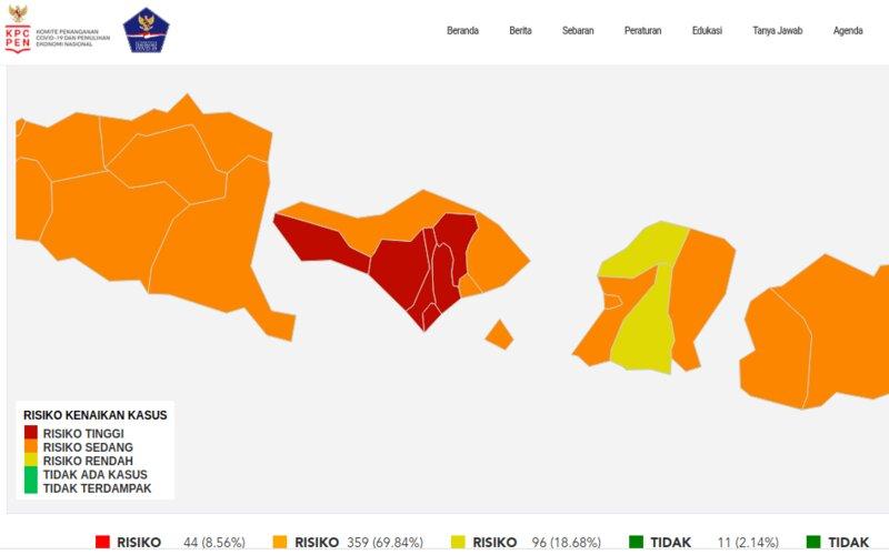 Zona risiko Covid-19 di Bali per 14 Februari. - Satgas Covid/19