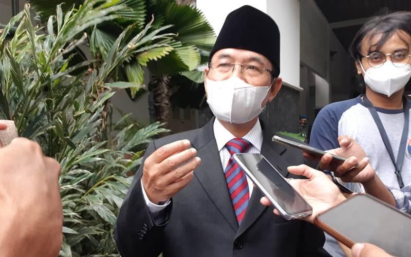 Yusmada Faizal menyampaikan keterangan kepada wartawan, Selasa (23/2/2021),usai dirinya dilantik sebagai Kepala Dinas Sumber Daya Air yang baru menggantikan Juaini, kini Wakil Wali Kota Jakarta Utara. - Bisnis/Nyoman Ary Wahyudi