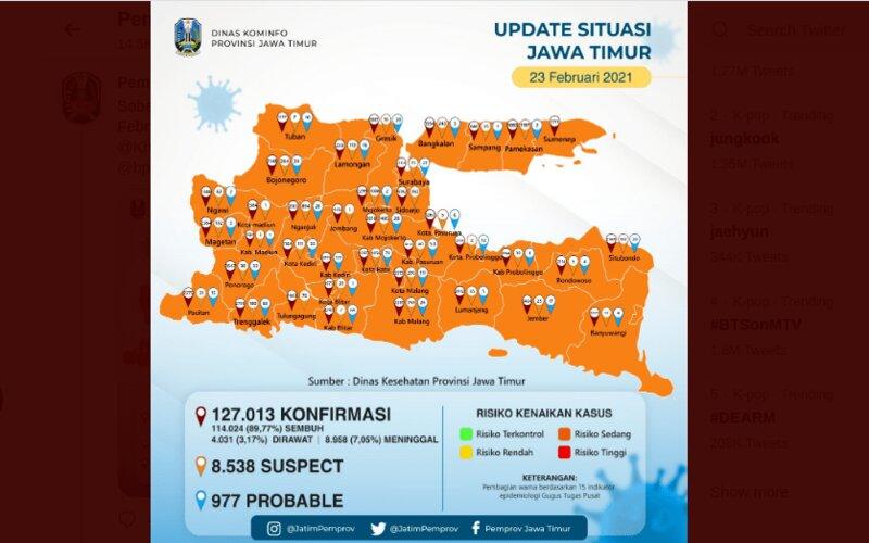 Zona risiko Covid/19 di Jawa Timur.