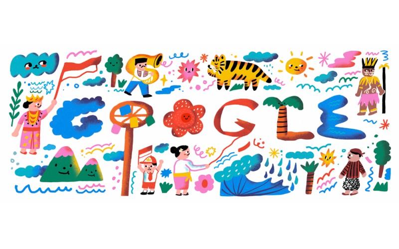 Ilustrasi Google Doodle untuk merayakan HUT ke-75 Republik Indonesia - Google
