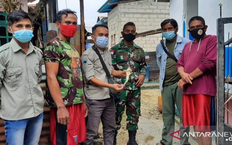 Petugas BBKSDA NTT saat berkunjung ke rumah seorang nelayan yang menemukan bayi hiu berwajah mirip manusia di kabupaten Rote Ndao. - ANTARA/Humas BBKSDA